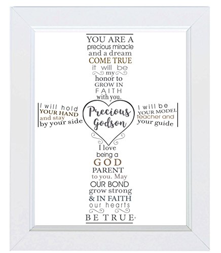 The Grandparent Gift Precious Godson Frame Baptism or Christening Gift from Godparent, White by The Grandparent Gift Co.