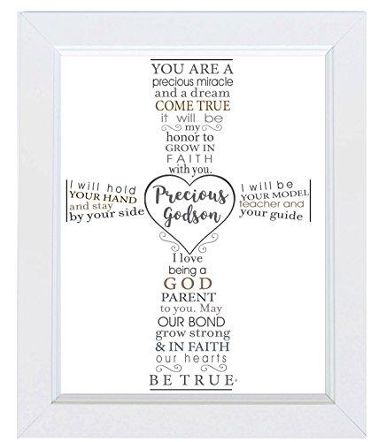 The Grandparent Gift Precious Godson Frame Baptism or Christening Gift from Godparent, White