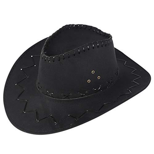 (Manzzy Women Men Adult West Cowboy Hat Mongolian Hat Grassland Sunshade Cap Sunhat Black)