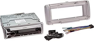 Kenwood KMR-D765BT MP3 USB AUX Marine Boat Yacht Stereo CD Player Receiver Bundle Combo With Dual Electronics SG3 White Water Resistant Flip Up Housing Cover