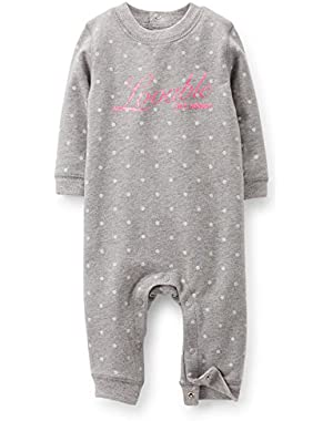 Baby Girls 1-piece French Terry Jumpsuit (3 Months) (Grey)