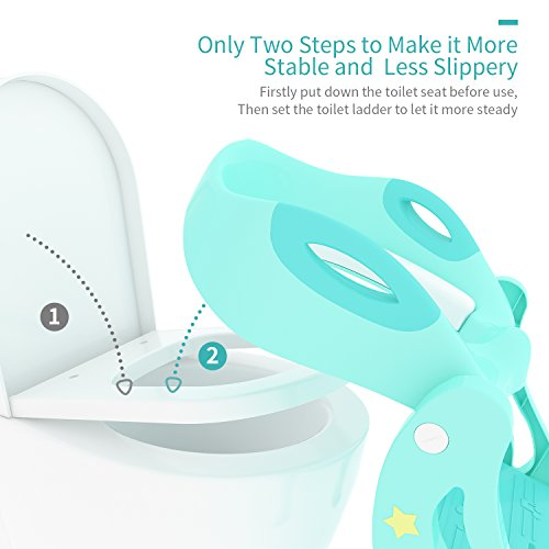 KIDPAR Potty Training Seat for Kids,Adjustable Toddler Toilet Potty Chair with Sturdy Non-Slip Step Stool Ladder, Comfortable Handles and Splash Guard, Easy to Assemble Toilet Seat for Boys and Girls by KIDPAR (Image #3)