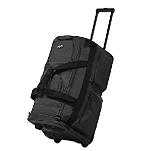 """Olympia Luggage 22"""" 8 Pocket Rolling Duffel Bag (Charcoal Gray w/ Black - Exclusive Color)"""