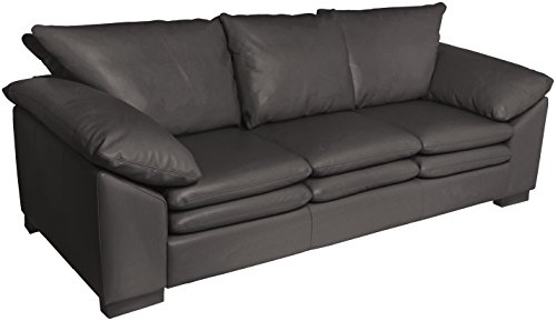 Omnia Leather Fargo 3 Cushion Sofa in Leather, Standard No Nail Head, Guanaco Black