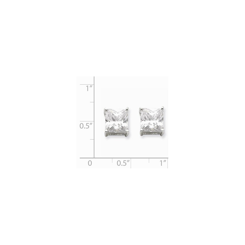 Sterling Silver Post Earrings Basket setting 8mm Square Cubic Zirconia Basket Set Stud Earrings
