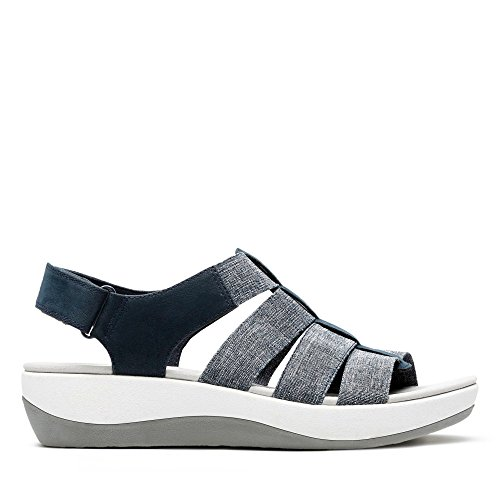 White Clarks Shaylie Arla Navy Textile in Sandals xrOrYqwP58
