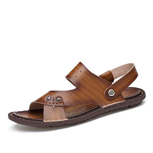 Sandali di sandali della fibra di estate degli uomini di estate Scarpe da spiaggia all'aperto Sandali di spiaggia esterni Doppio scopo, Brown, UK = 8.5, EU = 42 2/3