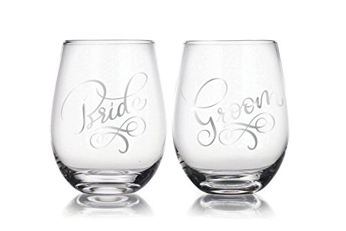 Bride & Groom 22 oz Stemless Wine Glasses Set of 2, Gift for Wedding Married Couple, for Engagement Gifts … ()