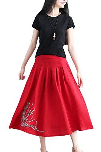 Les Femmes Maxi Jupe Longue Portion Taille De Broderies Floraux avec des Poches Red