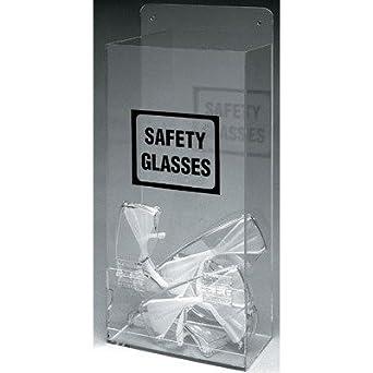 "Brady EHMVSD 17-1/4"" Height, 8"" Width, 4"" Depth, Plastic, Black On Clear Color Economy Visitor Spec Dispenser, Legend ""Safety Glasses"""