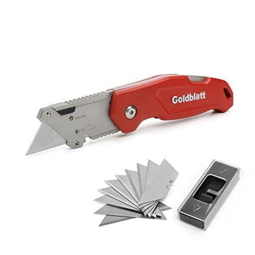 Goldblatt Folding Utility Knife Quick Change Blade Mechanism Aluminum Alloy Handle with 10-piece Extra Blades