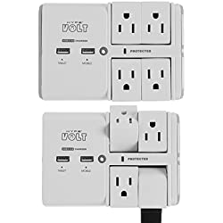 Hype Volt (2 Pack) Wall Tap Swivel Surge Protector with USB 4 Smart 90° Outlets & 2 USB Charging Ports