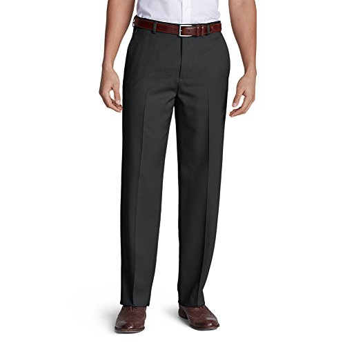 Grey Wool Trousers (Eddie Bauer Men's Relaxed Fit Flat-Front Wool Gabardine Trousers, Gray Regular 4)