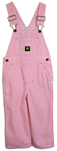 Walls John Deere Youth Girls Washed Pink Hickory Striped Bib Overalls 4