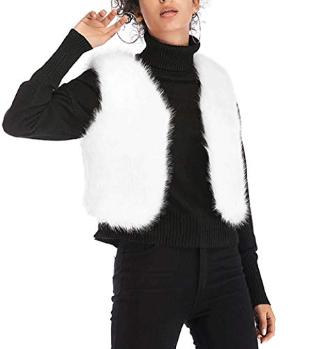 Hauts Blousons Hiver Femmes Smalltile Automne Coat Vestes Outerwear Casual Pulls Manteaux Fourrure Chaud Sans Jacket Mode Fausse Gilets Peluche Slim Blanc Manche Court c0Y8WA8Xz