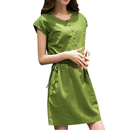 Flurries Women Dress, Fashion Women Short Sleeve O Neck Pocket Cotton Linen Loose Casual Dress   (M, Green) by Flurries