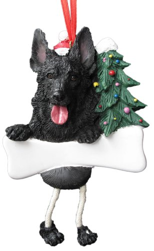 """German Shepherd Ornament Black With Unique """"dangling Legs"""" Hand Painted And Easily Personalized Christmas Ornament Picture"""
