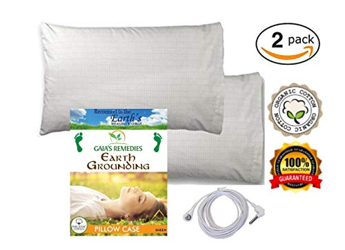 (Earthing Grounding Pillow Case (2 Sets) Improves Sleep, Natural EMF Detox, 95% Cotton, 5% Silver, Reduces Inflammation and Pain Through ion Exchange.)