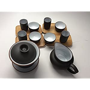 Music City Tea Gaiwan Tea Set with 15pcs with Gift Box Black and White