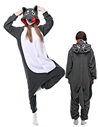 Wolf Pajamas Adult Onesies Plus One Piece Cosplay Animal Halloween Costume for Women Men