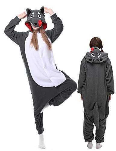 Wolf Pajamas Adult Onesies Plus One Piece Cosplay Animal Halloween Costume for Women Men -