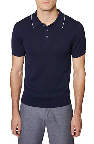 Hickey Freeman Silver Men's Short Sleeve 3 Button Polo Sweater, Navy, Large