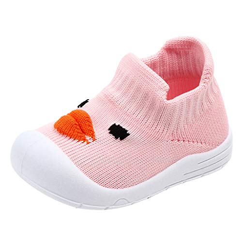 Toddler Infant Slip-On Sneakers Baby Girls Boys Cartoon Duck Mesh Soft Sole Sport Shoes (Recommended Age:6-9Months, Pink)