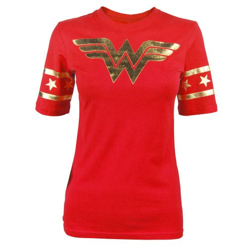 Bioworld Wonder Woman Gold Foil Striped Sleeves Red Juniors T-shirt Tee (Juniors Large)