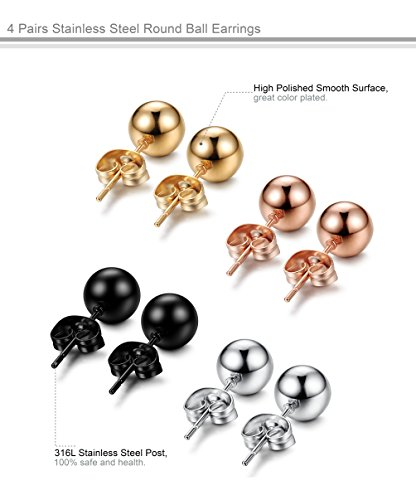 FUNRUN JEWELRY 4 Pairs Stainless Steel Ball Stud Earrings for Women Men Round Ball 4mm 4 Colors
