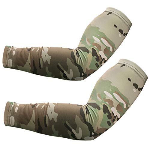 JIUSY 1 Paris - Camouflage Elastic Sports Arm Sleeves Cool Sun Block UV Protection Tattoo Cover Arm Warmer for Cycling Motorcycle Bicycle Baseball Basketball Size X-Large S-CamoXT-09