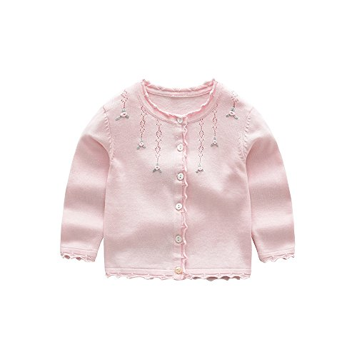 XIAOHAWANG Knitted Baby Girls Cardigan Toddler Button up Sweaters (6 Years, Pink) (Girls Pink Sweater Cardigan)