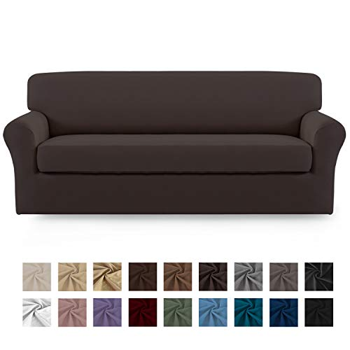 Easy-Going 2 Pieces Microfiber Stretch Sofa Slipcover - Spandex Soft Fitted Sofa Couch Cover, Washable Furniture Protector with Elastic Bottom for Kids,Pet (Sofa,Chocolate)