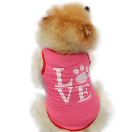 Pet Shirt,Wakeu Small Dog Girl Clothes Love Patten Vest Puppy Summer Apparel (S, Pink) for $<!--$0.47-->