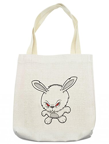 Lunarable Vampire Tote Bag, Bunny Cute Funny Character Angry Animal Cartoon Style Evil Rabbit Illustration, Cloth Linen Reusable Bag for Shopping Groceries Books Beach Travel & More, (Evil Bunny Costume Makeup)