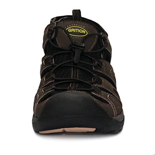 Pictures of GRITION Mens Athletic Hiking Sandals Closed Toe Fisherman Sandals Water Shoes Adjustable Quick Dry Protective Toecap Sandals for Men (12.5 US / 29.87 cm (Foot Length), Reddish Brown) 5