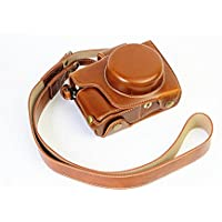 Full Protection Bottom Opening Version Protective PU Leather Camera Case Bag with Tripod Design Compatible For Olympus OM-D E-M10 Mark 2 EM10 Mark II with Shoulder Neck Strap Belt Brown
