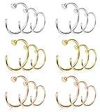 Milacolato 18pcs 22G 316L Surgical Steel C-Shape Nose Hoop for Men Women Flat Disc Thin Nose Ring Cartilage Tragus Ear Piercing Set RGS