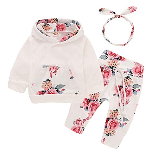 3Pcs Infant Toddler Baby Girl Clothes Long Sleeve Hoodie with Pocket Tops Floral Pants Outfits Set with Headband (6-12 Months)