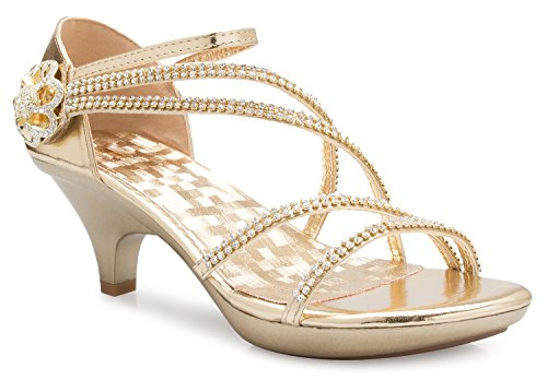 (OLIVIA K Women's Open Toe Strappy Rhinestone Dress Sandal Low Heel Wedding Shoes Gold)