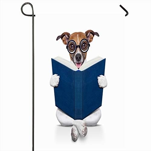 Ahawoso Seasonal Garden Flag 12x18 Inches Antique Book Jack Russell Dog Sitting Reading Big Data Sports Recreation Funny Blank Clever Design Home Decorative Outdoor Double Sided House Yard Sign