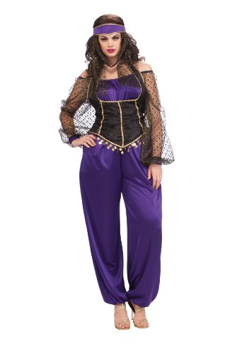 Rubie's Costume Adult Full Cut Harem Girl Costume, Purple/Black, Plus (Jasmine In Aladdin Costumes)