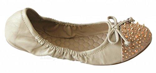Xica Jyden-03 Slip-on Para Mujer Bota Plana, Suela Blanda, Tacón Elástico, Zapatillas De Ballet Beige
