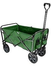 GreenWise Collapsible Folding Wagon Beach Outdoor Wagon Utility Garden Shopping Cart, Green (Choose Color - Red/Blue / Green)