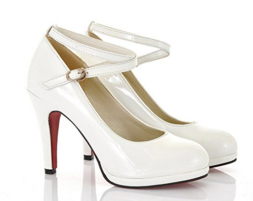 Pointed Toe High Heels Shoes (White) - 7