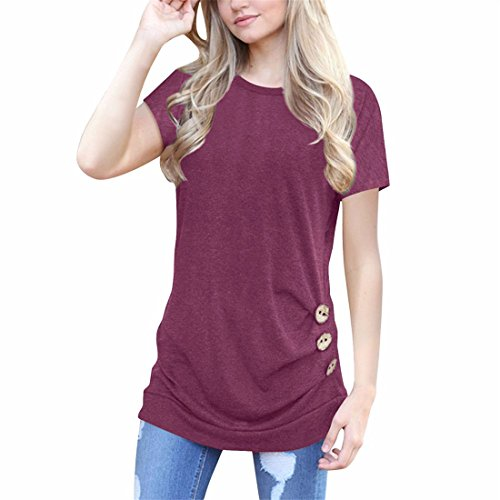 Luca Women Casual 4 Solid Colors O Neck Tunic Short Sleeve Loose Slim T-Shirt Button Trim Blouse For Gift (Wine Red, L)