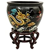 Asian Art & Home Decor- 16'' Chinese Lacquer Porcelain Jardini�re Fishbowl Planter Urn- Dragon
