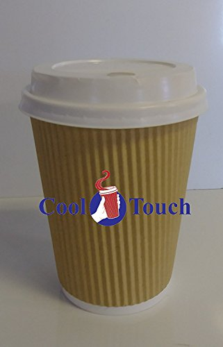 Sleeved Star (Cool Touch - Rippled Pre Sleeved Hot Cold Coffee Drink Cups (10, 12oz Cups & Lids))