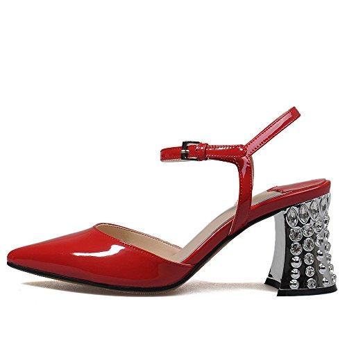 Nine Seven Moda Cuero Puntiagudos Sandalias de Tacón Aguja con Correa de Tobillo para Mujer Rojo