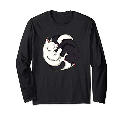 - Cute Cat Yin Yang Long Sleeved Shirt Cat Kitten Lover