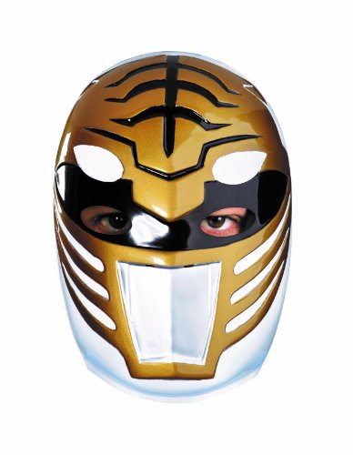 Disguise Sabans Mighty Morphin Power Rangers White Ranger Vacuform Mask Costume Accessory, Gold/Silver/Black, One Size Adult